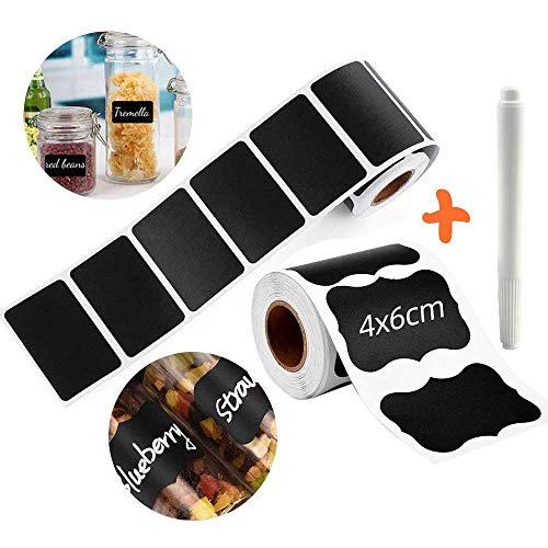 300 Stks Blackboard Sticker - Krijtbord Labels, Keuken Opslag Spice Jar Etiketten voor Potten Krijtbord Sticker Labels, Waterdichte Krijtbord Stickers Kit met 1 Wit Erasable Pens