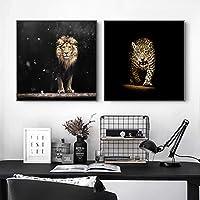 動物のポスターと版画壁アートキャンバス絵画ブラックホワイトライオンヒョウ壁アートワーク絵画リビングルームの装飾60x60cmx2フレームレス