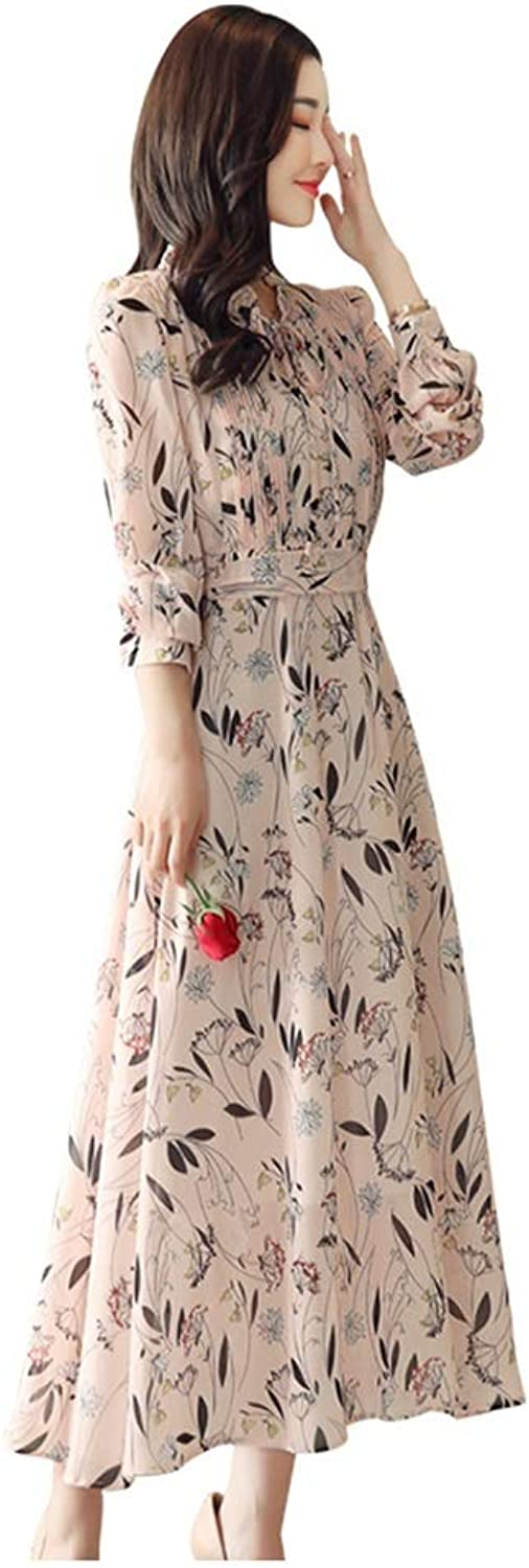 Dress Floral Dress Spring and Summer Skirt Women's High Waist was Thin Fashion Long Sleeve Dress Beach Skirt Party Everyday (Size   M)