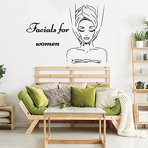 AiEnmaw Gran belleza cuidado de la piel faciales para las mujeres etiqueta de la pared de la tienda del balneario salón de belleza tienda pared calcomanía vinilo decoración 56x42cm