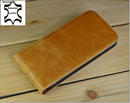Akira Hand Made [Echt Leder] Handyhülle kompatibel mit LG G2 Cover Handgemacht Case Schutzhülle Etui Flip Wallet Pen Dunkel Braun