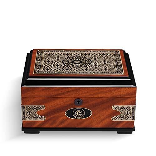 Idong sigaar luchtbevochtigers - sigaar doos sigaren hydraterende alcohol doos Europese vintage print cederhout grote capaciteit Afmetingen: 395x220x158mm idong
