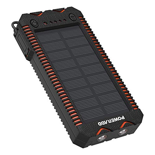 POWERADD Apollo2 Powerbank Solare 12000mAh Caricatore Portatile con Pannelli Solari, 2 LED di Emergenza e Accendisigari Integrato, Adatto per IPhone, IPad, Smartphone, Tablet