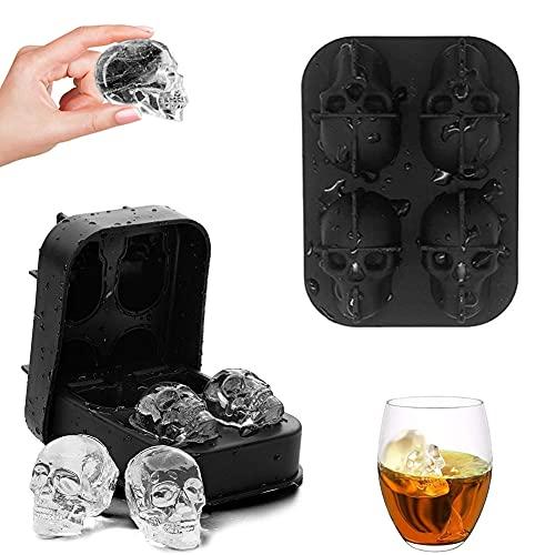 2pcs Molde Cubitos Hielo Calavera,3D Cubito Calavera Molde,Cubitera Calavera,Molde Bandeja del Cubo Hielo del Cráneo 3D,para Cocktails,Whisky,Vodka y Chocolate,Fiesta de Halloween