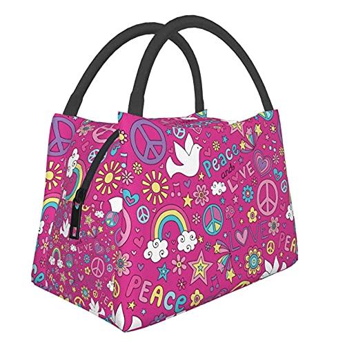 Bolsas porta Cartoon Doves Peace Pattern Bolsa de almuerzo con cremallera, a prueba de fugas, portátil, con aislamiento térmico, bolsillo frontal para trabajo, viajes, cocina y restaurante.