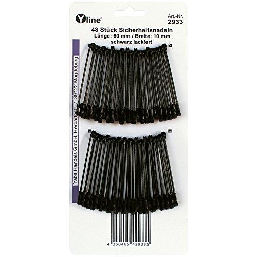 Yline 48 Stück Sicherheitsnadeln Maxi/groß, schwarz 60 mm, Sicherheits- Nadel Nadeln Schmucknadeln, 2933