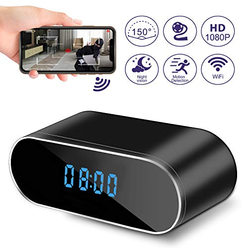 Hidden Camera Clock, WiFi Spy Camera Wireless Hidden, 1080P Nanny Cameras and Hidden Cameras with Night Vision and Motion Detective, Perfect 150 Angle Camera Alarm Clock for Home Security 【New APP】