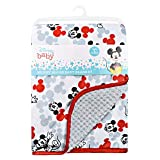 Cudlie Disney Baby Boy Mickey Mouse Double Sided Baby Blanket with Printed Mink Waffle & Satin Edge (30x40)