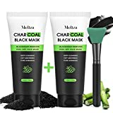 Blackhead Peel Off Face Mask, Meliza Blackhead Remover Charcoal Face Mask (2 Packs), Deep Cleaning & Pore Shrinking Black Mask with Brush, Activated Charcoal Mask for Face & Nose 200g