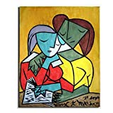KWGQM Pablo Picasso Two Girls Reading Canvas Painting Print Abstract Poster Impressionist Poster Home Decor Colourful Body Art Wall Picture 40x60cm No Frame