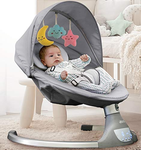 Nova Baby Swing for Infants - 5 Swing Options,10 preset lullabies, Bluetooth Enabled, Remote Control, IMD Touch Panel, Gray - by Jool Baby