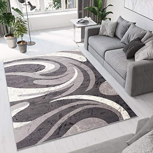 TAPISO Dream Tappeto Salotto Moderno Soggiorno Grigio Crema Astratto Onde A Pelo Corto 120 x 170 cm