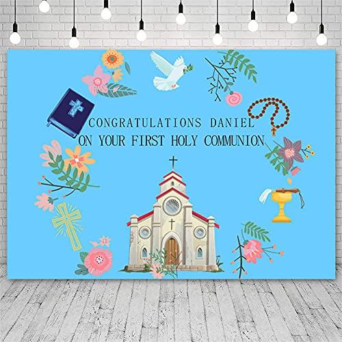 Fondos fotográficos Fotografía de Fondo Banner de Primera Comunión Colombe Iglesia de la Paz Estudio Decoración Foto para sesión de fotos-150x220cm
