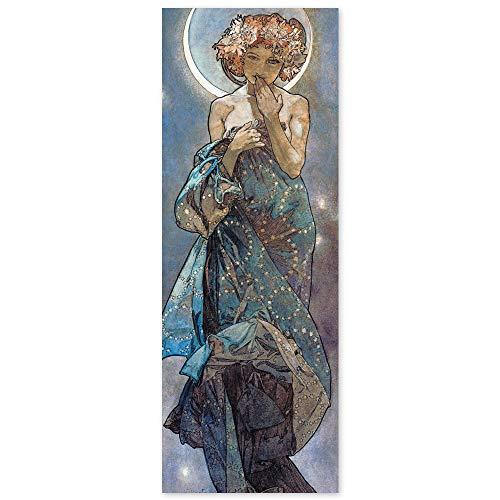 JUNIWORDS Poster, Alfons Maria Mucha, Sterne, Der Mond, 30 x 82 cm