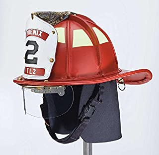 Phenix TL-2 Red Leather Firefighting Helmet: Ratchet Suspension (NFPA) with Goggles