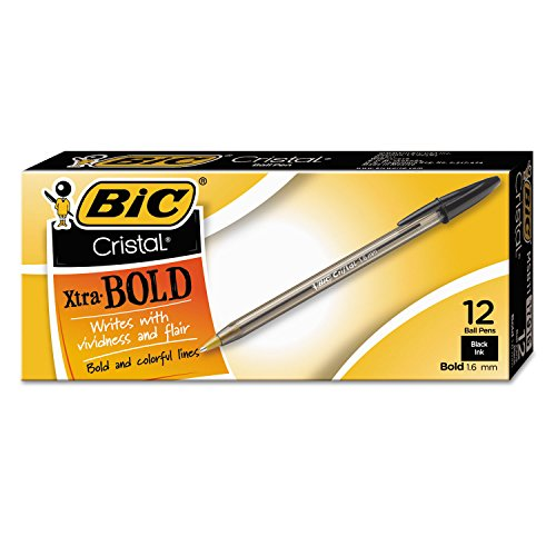 BIC MSB11BK Cristal Xtra Bold Ballpoint Stick Pen, Black Ink, 1.6mm, Bold, Dozen