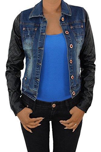 Sotala Damen Lederjacke Kunstlederjacke Damenjacke Jacket Bikerjacke Jeansjacke Jeans M