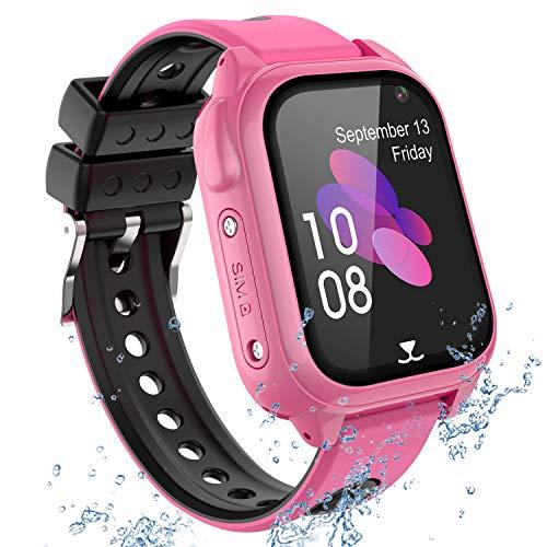 PTHTECHUS GPS Tracker Kids Smartwatch Phone per Bambini Impermeabile, Localizzato pedometro con Chat Vocale, Sveglia SOS per Il Gioco di Matematica Kids Smart Watch, Regalo Ragazzo e Ragazza, S8-Pink