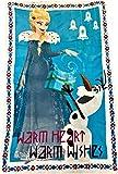 DIISNEY Disney Frozen Princess Anna, Elsa and Olaf Snowflakes and Castle Throw Blanket (Light Blue)