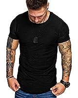 Mens Athletci Tee Shirts Casual Solid Color Tops Fashion Short Sleeve Shirt Black M