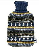Bolsa de agua caliente axion - incluye funda/forro de algodón azul con estampado