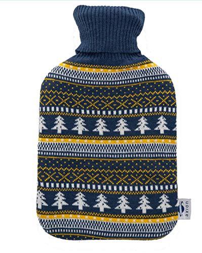 Bolsa de agua caliente axion - incluye funda/forro de algodón azul con...