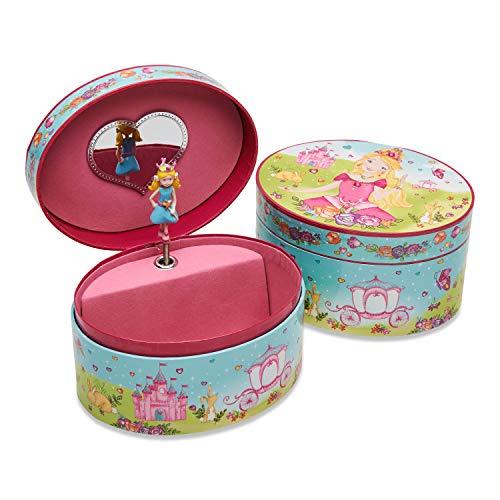 Lucy Locket – Ovales Schmuckkästchen mit Spieluhr und Prinzessinnen-Motiv – Glitzerndes Kinder Schmuckkästchen – Spieluhr mit Schmuckkästchen