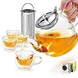 Teekanne mit Siebeinsatz, 1200ML Teeservice 4 doppelwandige Gläser, Borosilikatglas Teekanne, Glasteekanne, Teekanne Glas mit Siebeinsatz, Tee-Ei für lose Blätter Teekanne Set - Spülmaschinenfest