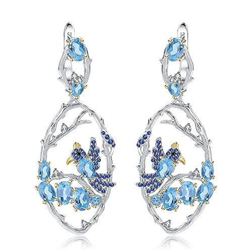 Pendientes de plata de ley 925 con topacio azul natural, buena calidad, joyería de moda para mujeres y niñas, aniversario, boda, cumpleaños, día de la madre