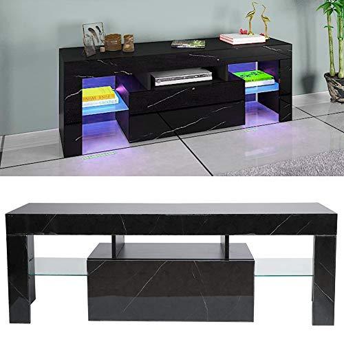 Mobile basso per TV, 130 x 35 x 45 cm, mobile TV con LED e scomparti aperti, colore nero con venature marmo, 220 V