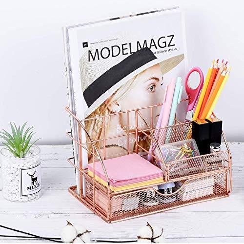 Eleckey Organizador de escritorio para mujer, bonito material de oficina de malla, accesorios esenciales con cajón para hogar y oficina, organización de escritorio y decoración (oro rosa, sin clips)