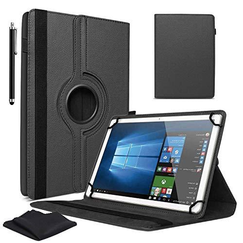 """Schwarz 7"""" Zoll Tablet Hülle für Asus MeMO Pad 7 ME572C/CL und HD 7 + Stylus Pen & Display Reinigungstücher - 360 Grad Drehbarer PU Leder Hülle, Schutzhülle mit Ständer Funktion"""