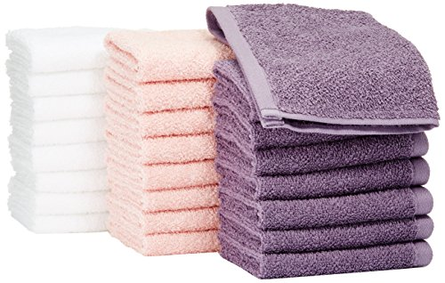 Amazon Basics Fast Drying, Extra Absorbent, Terry Cotton Washcloths, Petal Pink/Lavender/White - Pack of 24
