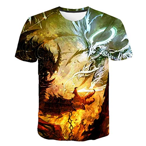 Unisex 3D Druckten Sommer-beiläufige Kurze Hülsen-T-Shirts Sommerdruck T-Shirt Psychedelic Abstract Dragon Rundhalsausschnitt T-Shirt-3XL