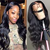 Star Show Unprocessed Brazilian Body Wave Human Hair Wigs 13X4 Lace Front Wigs with Baby Hair 150% Density Natural Hairline wigs for Black Women (22 inch)