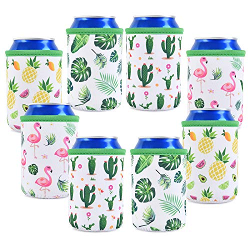Set of 8 Neoprene Can Sleeves - Collapsible Thermocoolers Can Cooler Sleeves Tropical Summer Soda...
