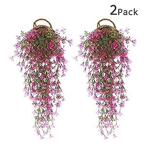 JustYit 2pcs Plantas Artificiales Exterior Hiedra Hojas Vid Artificial Guirnalda Plantas Decoración Verde de Hogar…
