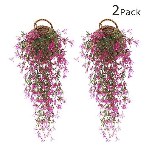 YGSAT 2 Stück Künstliche Ivy Efeu Künstlich Efeu Hängend girlande Gefälschte Hängende Reben Anlage für Hochzeit Garten Wand Dekoration/Lila