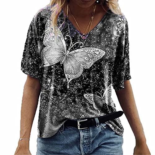 ZFQQ Camiseta de Manga Corta con Estampado de Mariposas Multicolor de Primavera y Verano para Mujer