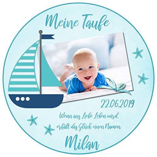 Tortenaufleger Tortenbild Taufe blau Schiff Boot Wunschtext Foto essbar Ø 20cm 663