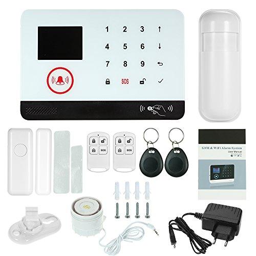 OWSOO 433MHz Sistema de Alarma GSM SMS, Pantalla LCD, Control Remoto de Phone APP, Alarma de Marcación Automática, con Sensor de Puerta/Sensor de Movimiento/Control Remoto/Tarjeta RFID/Sirena Cableada