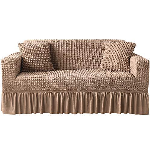 NOBCE Funda de sofá elástica elástica 1/2/3/4 plazas Fundas de sofá para sofás universales Funda seccional en Forma de L marrón 145-185CM