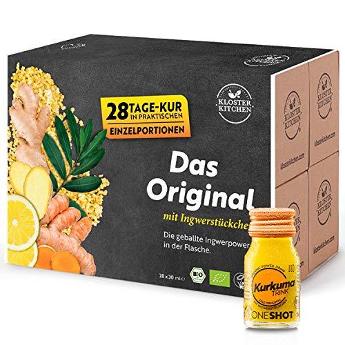 Kloster Kitchen CúrcumaTRINK Shot - Shots de jengibre y cúrcuma, 28 botellas de vidrio de 30 ml, con trozos de jengibre orgánico y vegano