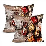 Meowjoy Juego de 2 fundas de cojín con impresión de lino y verduras, tarros de vidrio conservado, de madera, para sofá, dormitorio, decoración del hogar, regalos para familiares y amigos de 50 x 50 cm
