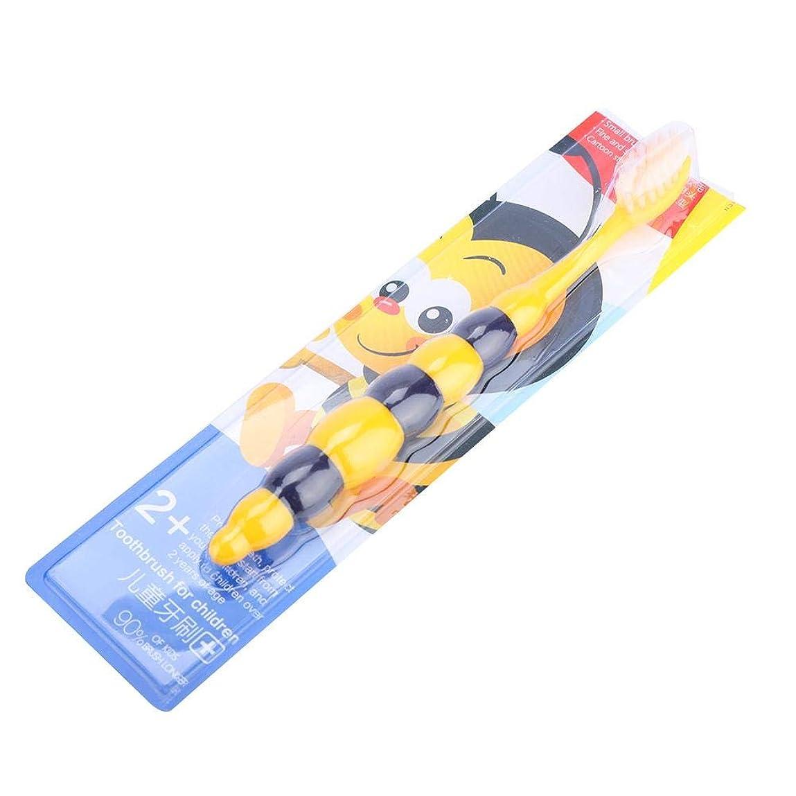 パーチナシティ広い二層子供の柔らかい髪の歯ブラシの子供かわいいクリーニングの歯ブラシオーラルケアツール(黄色い蜂)