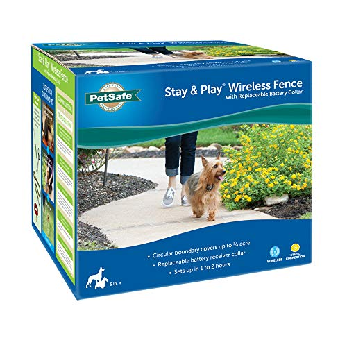 PetSafe Stay & Play Wireless Fence with Replaceable Battery Collar for Dogs, 5.7 LB