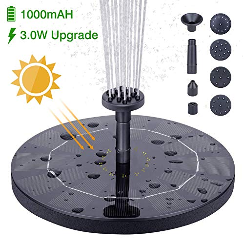 HEYSTOP 5.0W Solar Fountain Pump, Solar Water Pump Floating Fountain Built-in Battery, with 6 Nozzles, for Bird Bath, Fish Tank, Pond or Garden Decoration
