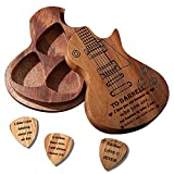 Custom Guitar Pick Holder with 3 Pcs Wooden Guitar Picks, Personalized Guitar Pick Case Box, Engraved Name,Text,Customized Gift for Dad,Husband,Boyfriend,Son,Friends