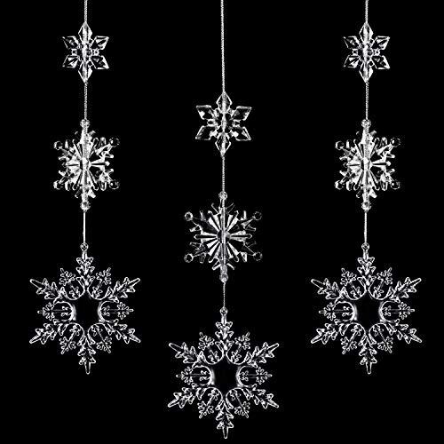 Boao 36 Stücke Kunststoff Kristall Schneeflocken Ornamente Klar Acryl Weihnachten Schneeflocken für Weihnachten Winter DIY Dekoration, Verschiedene Größen 1,7/3/ 4 Zoll