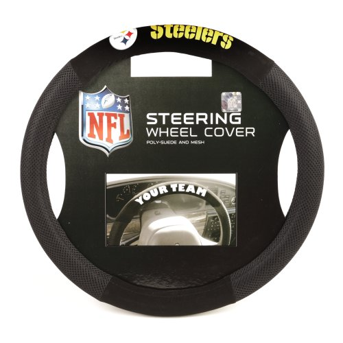 Fremont Die NFL Pittsburgh Steelers Poly-Suede Steering Wheel Cover, Fits Most Standard Size Steering Wheels, Black/Team Colors